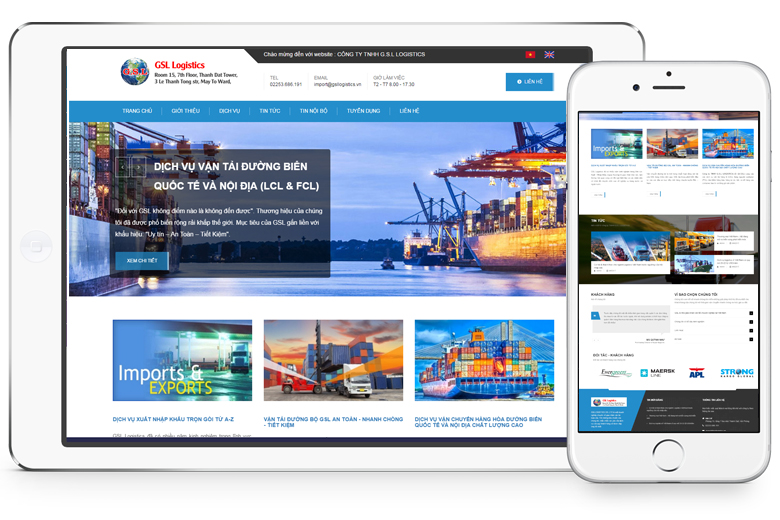 thiết kế web vận tải, logistics
